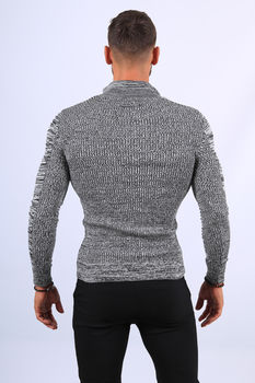 Pull  homme noir/blanc col montant 1210