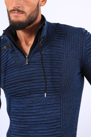 Pull  homme bleu col montant 1210