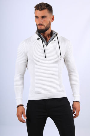 Pull  homme blanc col montant 1210