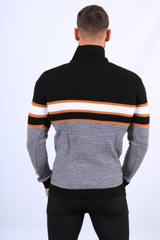 Pull  homme noir col montant 52176