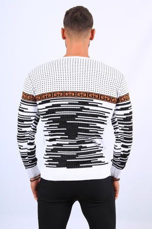 Pull  homme blanc col lacet 52156