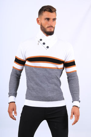 Pull  homme blanc col montant 52176