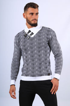 Pull  homme gris col montant 52171