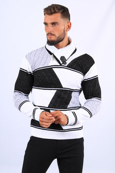 Pull  homme blanc/noir col montant 52202