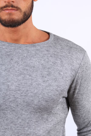 Pull homme oversize gris