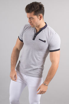Polo homme gris 8113