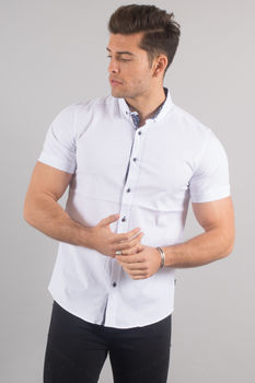 chemise italienne homme blanche manche courte 9094