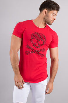 T-shirt homme oversize strass rouge u146