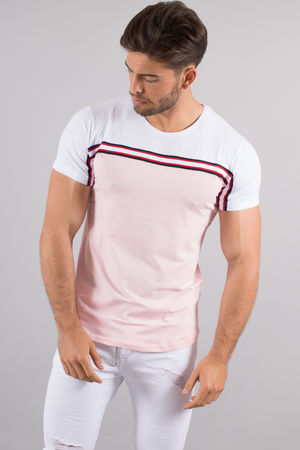 T-shirt homme rose/blanc 4498