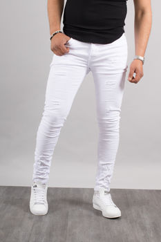 Jeans homme skinny blanc 72197