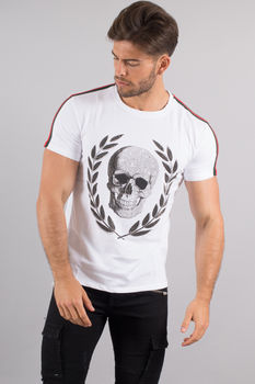 T-shirt homme strass blanc 2003