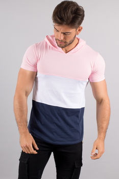 T-shirt homme à capuche  tri Color 4522