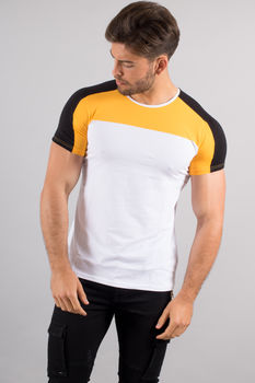 T-shirt homme bi Color blanc/jaune 4518