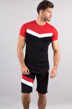 Ensemble homme  t-shirt + short noir/rouge 616