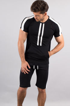 Ensemble homme  t-shirt + short noir/blanc 619