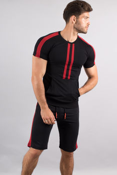 Ensemble homme  t-shirt + short noir/rouge 619