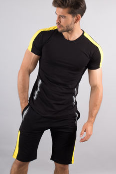 Ensemble homme  t-shirt + short noir/jaune 618