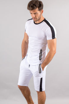 Ensemble homme  t-shirt + short blanc/noir 618