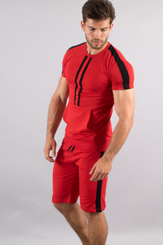 Ensemble homme  t-shirt + short rouge/noir 619
