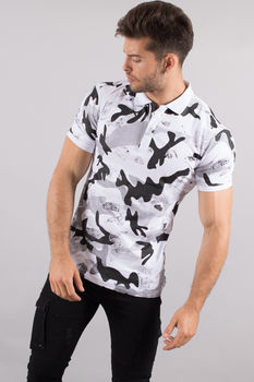 polo homme blanc  camouflage F100
