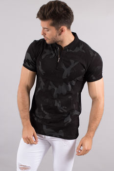 polo homme noir  camouflage F100