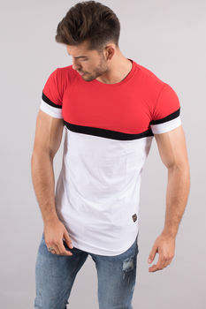 T-shirt homme oversize tri Color rouge 98092-1