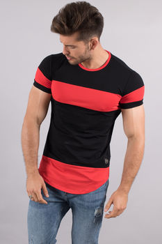 T-shirt homme oversize bi Color noir/rouge 98097-3