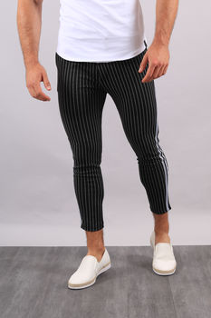 Pantalon à rayures noir bande  UP29
