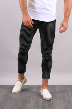 Pantalon à rayures noir   UP28