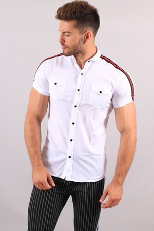 Chemise manche courte blanche bande rouge 114