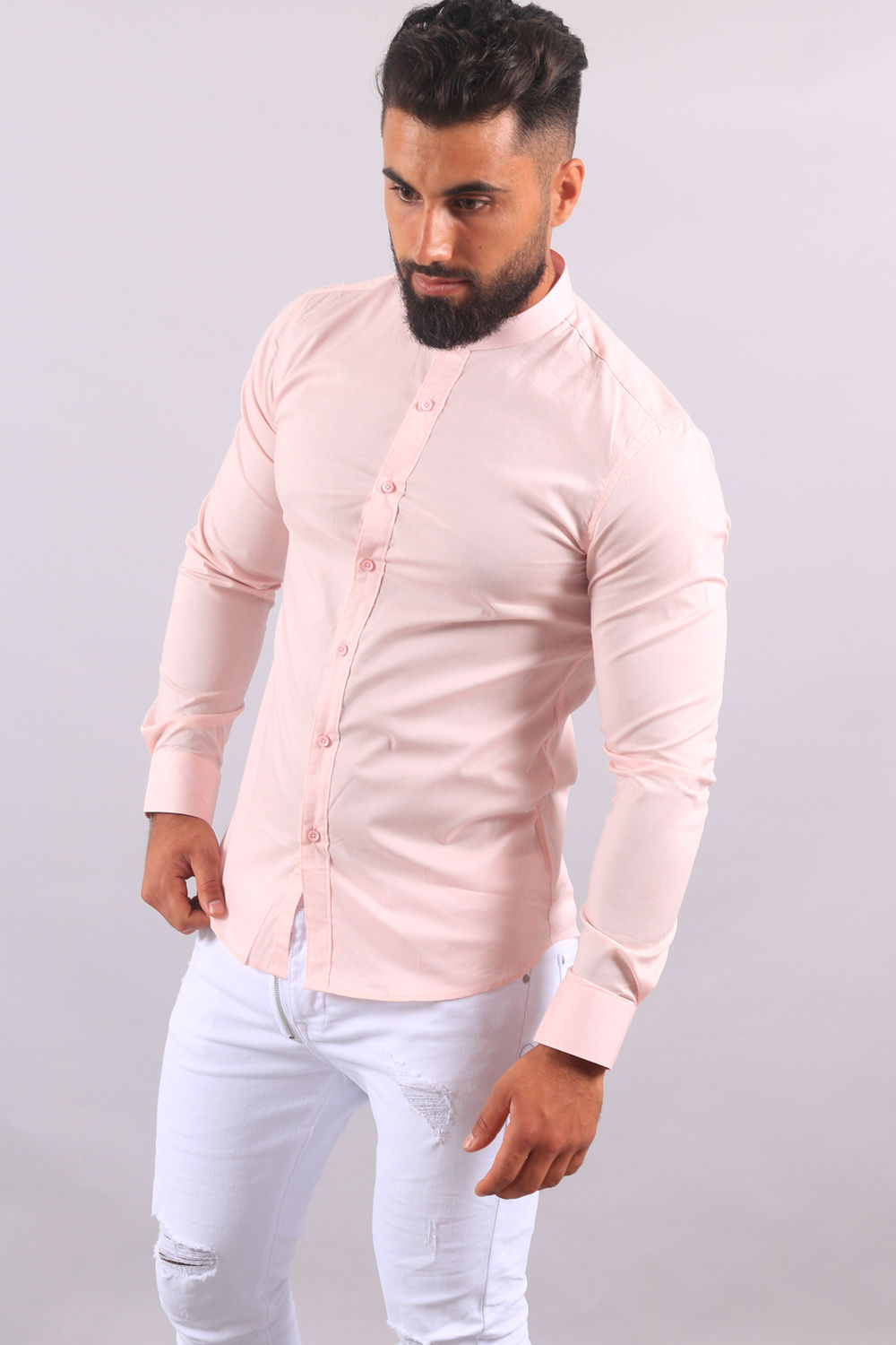 acheter populaire 4cfd5 cde60 chemise homme cintré rose col Mao 202