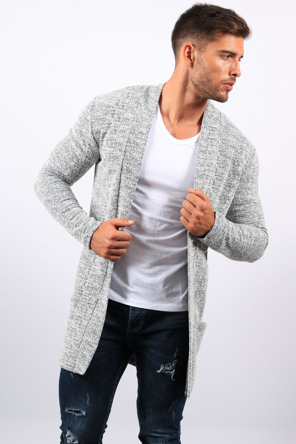 qualité de la marque fabrication habile magasin officiel Gilet homme long gris chiné 6002 B