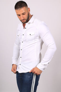chemise homme jeans blanc 5068