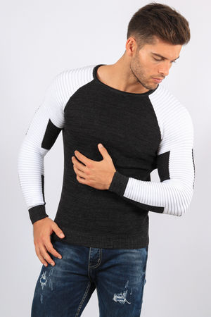 pull homme gris antra / blanc 3158