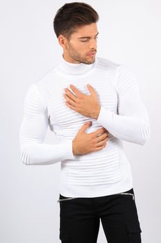 pull homme col roulé blanc CE 3205