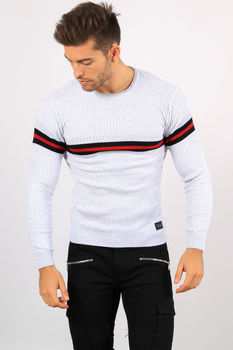 pull homme gris bande rouge 5962