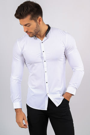 chemise homme  blanche col Mao 1071