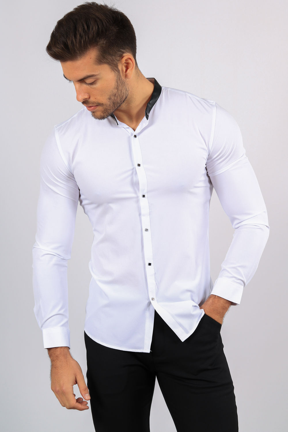 attractive price outlet store shopping chemise homme blanche col Mao 1071