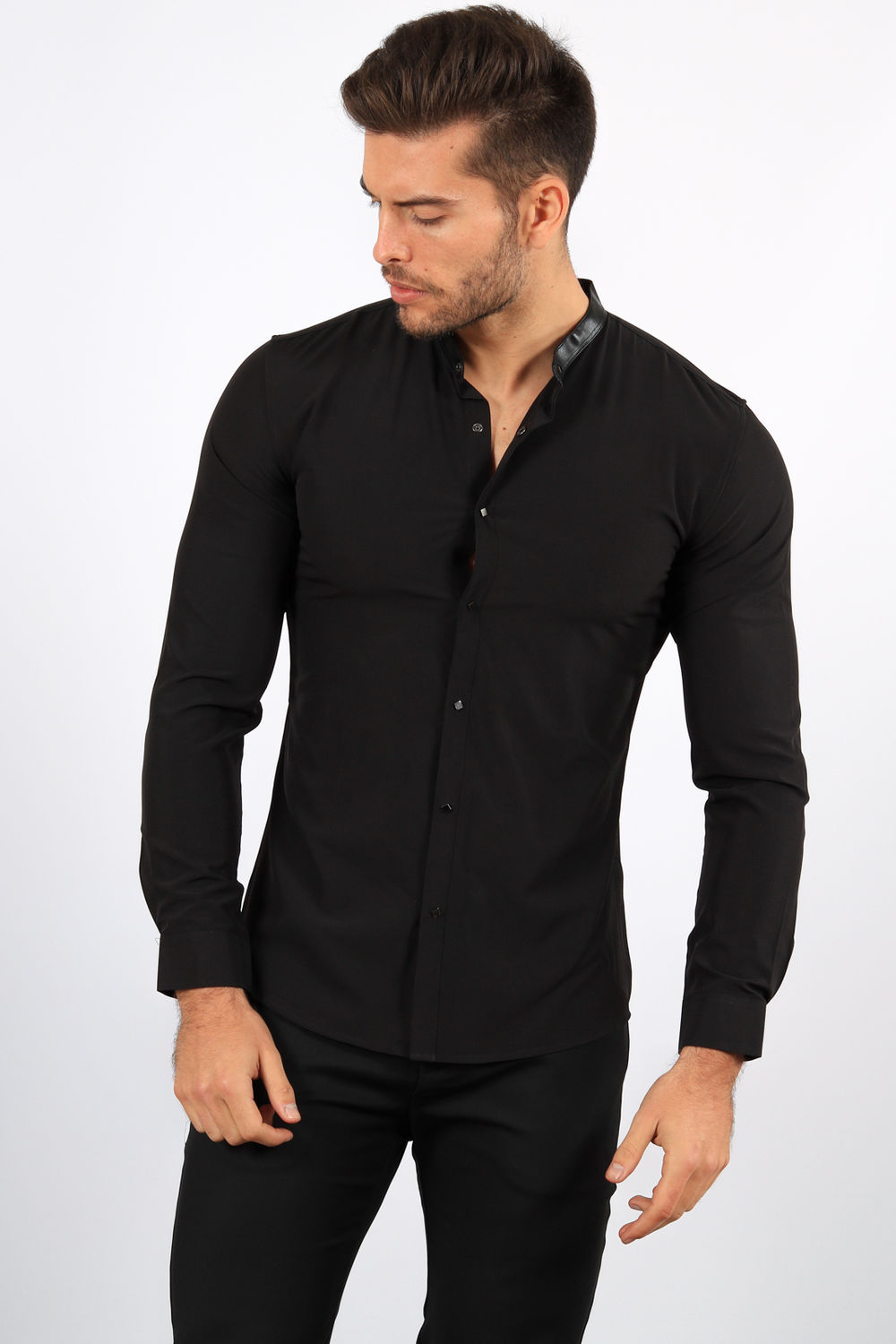 united states save off to buy chemise homme noir col Mao 1071