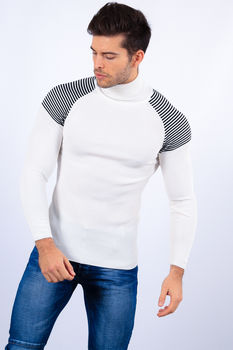 pull homme  blanc col roulé 2253