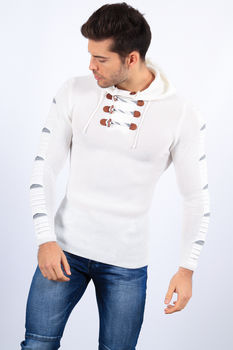 pull homme capuche blanc 1740