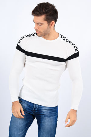 pull homme stylé  blanc 2241