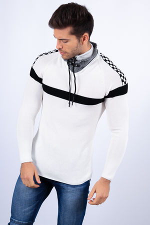 pull homme stylé blanc 1415