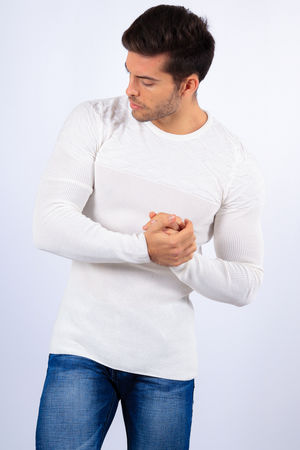 pull homme blanc  2132