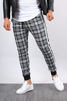 Pantalon  homme à carreaux Black/W  2282