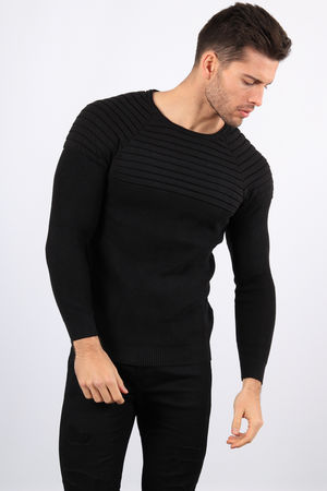 pull homme noir maille fine 3129