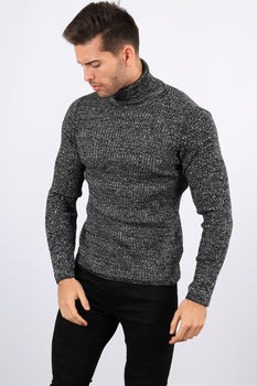 pull homme col roulé blanc chiné 7480