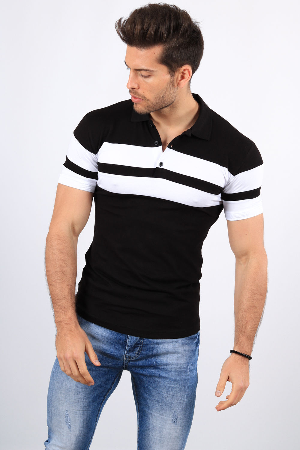 434 Polo Noir Homme Bande Blanche eDWE2H9IY