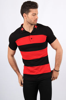 Polo homme noir/rouge  488