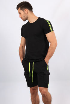 Ensemble t-shirt+short noir 8002
